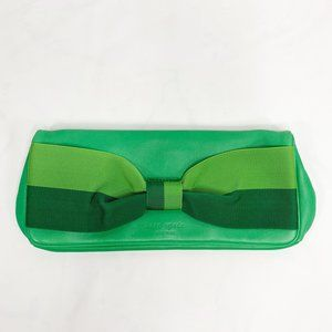 KATE SPADE Mirra Bow Clutch Green Leather Purse